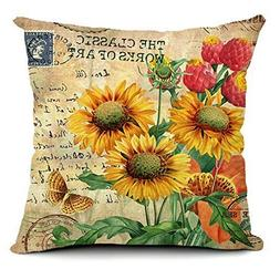 "1 X 18 X 18"" Sunflower Cotton Linen Decorative Throw Pillow"