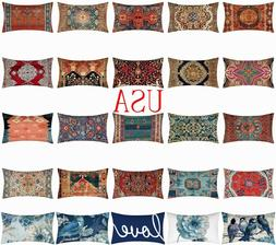 "12x20"" Cushion COVER White Double-Sided Lumbar Decorative So"