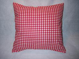 "16"" Throw Pillow Sham Slip Cover PRIMITIVE RED White Check G"
