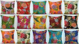 16'' INDIAN CUSHION COVER PILLOW CASE KANTHA WORK FLORAL ETH
