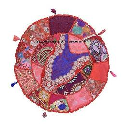 "16"" Indian Red Patchwork Decorative Sofa Throw Pillow Round"