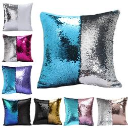 "16"" Reversible Magic Mermaid Throw Pillow Cover Sofa Cushion"