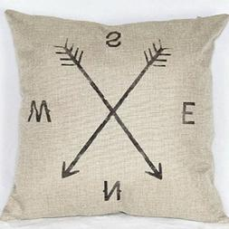 "18"" X 18"" Cotton Linen Square Throw Pillow Case Compass Deco"