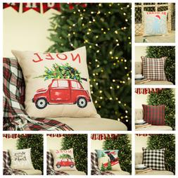 Glitzhome 18'' Christmas SquareLinen Throw Pillow Case Cushi