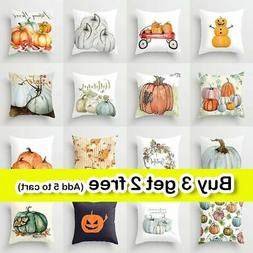 "18"" Fall Halloween Pumpkin Pillow Case Waist Throw Cushion C"