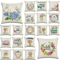 "18"" Flower Market Spring Floral Throw Pillow Cover Linen Dec"