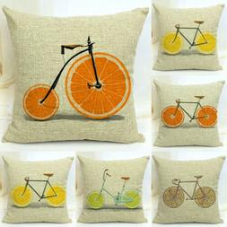 18''Fruits Bicycle Throw Pillow Case Rose Sweet Love Square