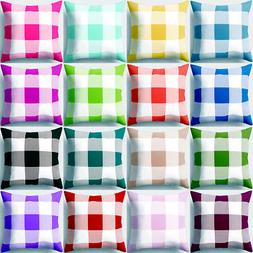 "18"" Geometric Plaid Peach Skin Square Throw Pillow Case Cush"