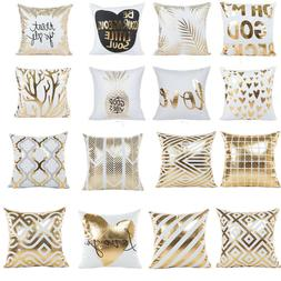 "18"" Gold Foil Printing Pillow Case Sofa Waist Throw Cushion"