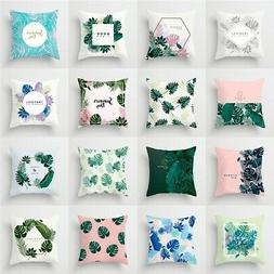 """18"""" Leaves Floral Pillow Cases Sofa Square Waist Throw Cushi"""