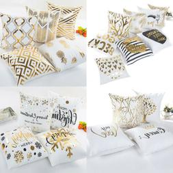 18 letter gold foil printing pillow case