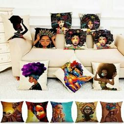"18"" Outdoor Decorative Throw Pillow Case Linen African Girl"