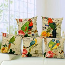"""18"""" Parrot Print Square Home Decorative Throw Pillow Case So"""