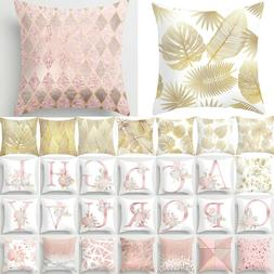 """18"""" Pink and Rose Gold Cushion Cover Throw Waist Pillow Case"""