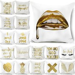 "18"" Polyester Gold Letters Throw Pillow Case Sofa Car Cushio"