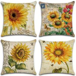 Sunflower Cotton Linen Pillow Case Waist Throw Cushion Cover