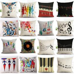 "18"" Retro Music Note Print Throw Pillow Case Art Home Office"