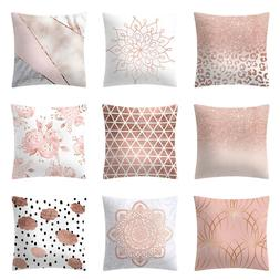 "18"" Rose Gold Pink Throw Pillow Case Cushion Cover Pillowcas"