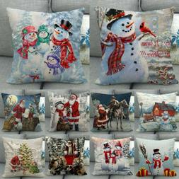 "18"" Snowman Winter Cojines Waist Throw Pillow Case Sofa Car"