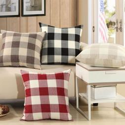 "18"" Vintage Plaid Decorative Linen Pillow Case Sofa Waist"