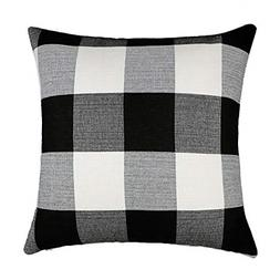 18X18 Black And White Buffalo Check Plaid Throw Pillow Case