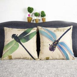 """18X18"""" Vintage Dragonfly Cotton Linen Cushion Cover Throw Pi"""