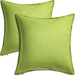 2 Pack Solid Light Green Decorative Throw Cushion Pillow Cov
