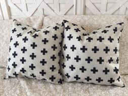"2 Beige & Black Cross Pillow Cover 18"" Farmhouse Decor Fre"