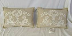 2 Threshold Beige Rectangular Throw Pillows With Floral Embr