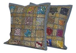 ANJANIYA 2 Embroidery Sequin Cushion Cover 16x16 inches Indi