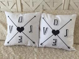"2 Love Arrow Pillow Covers 18"" Home Decor White & Black Vale"