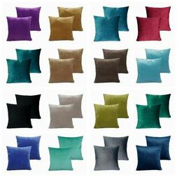 2 Pack Soft Velvet Solid Color Throw PILLOW CASE Sofa Bed CU