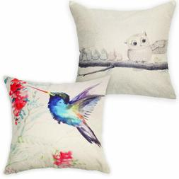 2 Pack Throw Pillow Cover, Bird Decorative Pillow Covers, Ow