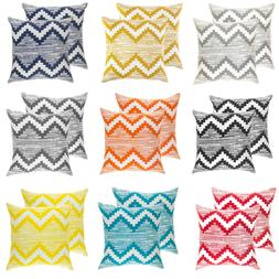 TreeWool,  Throw Pillow Covers in Cotton Canvas Ikat Chevron