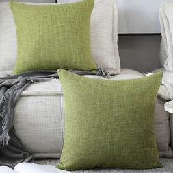 Kevin Textile 2 Packs Throw Pillow Cases Textural Linen Lind