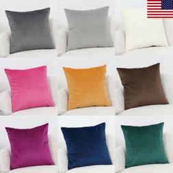 2 Soft Velvet Solid MultiColor Throw PILLOW COVER Sofa Couch