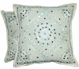 2pc White decorative Throw Pillow Indian Mirror Work Floor P