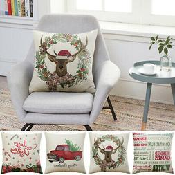 """18 x 18"""" Christmas Throw Pillow Covers Couch Cases Cotton Li"""