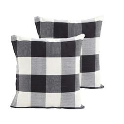 "2Pcs 18""X18"" Black and White Buffalo Check Plaid Throw Pillo"
