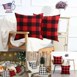 2X Throw Pillow Cover Red Black Buffalo Check Plaid Home Dec