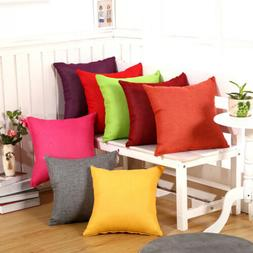 2PCS Cotton Linen Solid Color Cushion Covers Square Throw Pi