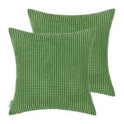 2Pcs Forest Green Throw Pillow Cover Corn Soft Corduroy Stri