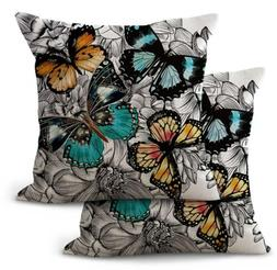 2PCS outdoor throw pillow covers  butterfly cushion cover