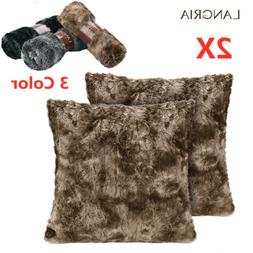 2pcs Soft Plush Throw Pillow Case Faux Fur Cushion Covers Be