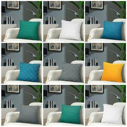 2Pcs Solid Color Throw Pillowcase Sofa Decoration Zipper Hol