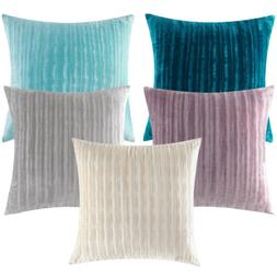 2pcs Thickened Throw Pillow Case Cover Striped Velvet Solid