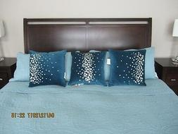 3 Throw Pillows with inserts Set Turquoise/Blue Bedding  Hom