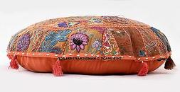 "32"" Orange Patchwork Decorative Floor Cushion Seating Throw"