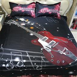 3D Oil Painting Music Noted Duvet Cover,Queen Size 4 Piece B