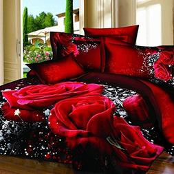 Alicemall 3D Rose Bedding California King Big Red Rose Black